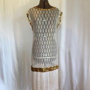 Costume Dress Vintage Flapper Halloween White Gold